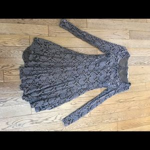 Brown Lace Long Sleeve Dress